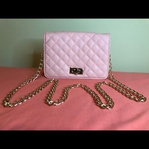 XHilaration Pink Faux Leather Quilted Mini Purse